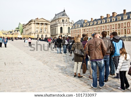 PARIS - APRIL 14. Visitors on queue for Versailles palace April, 14, 2012. The Versailles palace has been on UNESCO�s World Heritage List for 30 years.