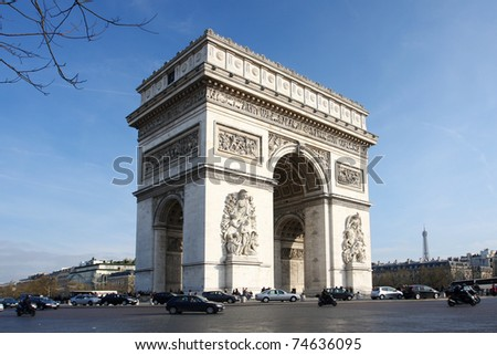 Paris, Arc de Triumph in spring time