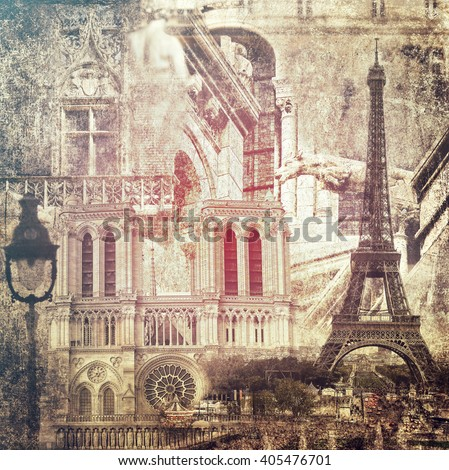 Paris architecture sights.Vintage style.Textured old paper background  #405476701