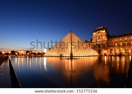 PARIS AUG 15 Louvre museum at twilight in summer on August 15 2013 Louvre museum is one of the world's largest museums with more than 8 million visitors each year