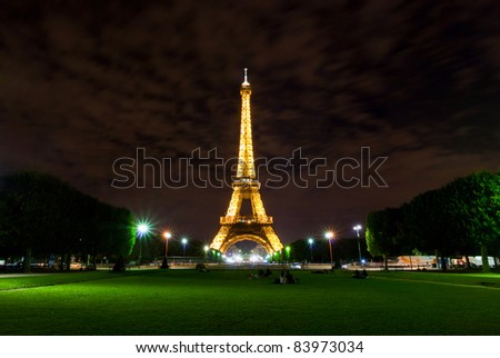 PARIS, August 2010 - Eiffel Tower during summer night in Paris, France on 13th of August 2010