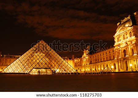 PARIS - AUGUST 18 : Pyramid and Pavillon Rishelieu in Louvre, August 18, 2007, Paris. Louvre is the biggest Museum in Paris displayed over 60,000 square meters of exhibition space.