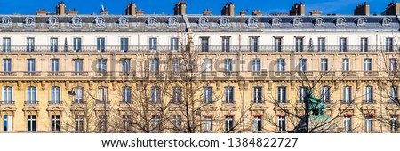 Paris, beautiful buildings in the center, typical parisian facades boulevard de Villiers