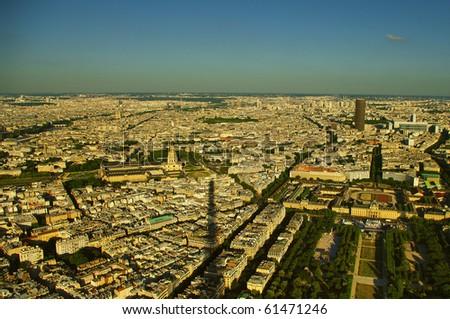 Paris birds view from Eifell tower - stock photo