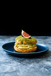 Paris Brest / Breast Eclair with Pistachio Cream and Fig.
