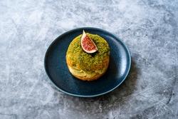 Paris Brest / Breast Eclair with Pistachio Cream and Fig.