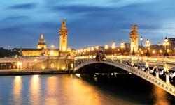 Paris bridge Alexandre 3, III and Seine river