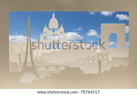 Paris carton silhouette with sand structure