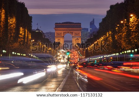Paris, Champs-Elysees traffic at night