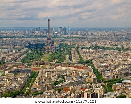 Paris city aerial view from Montparnasse tower. France.