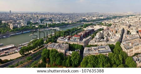Paris city and seine river view from old Eiffel tower.