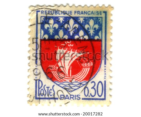 Paris City Coat of Arms Postage Stamp