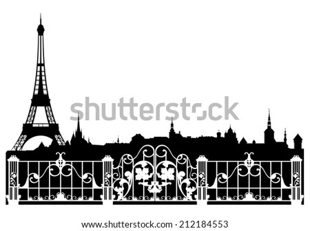 Paris city easy editable decorative border - french cityscape with eiffel tower silhouette