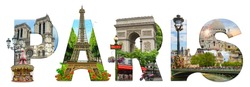 Paris city landmarks. Word illustration of most famous Paris monuments and places.