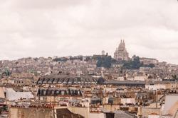 Paris city skyline .The view from the Pompidou centre.