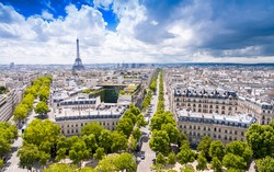Paris city view with Eiffel Tower in background.