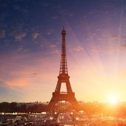 Paris cityscape at sunset - eiffel tower