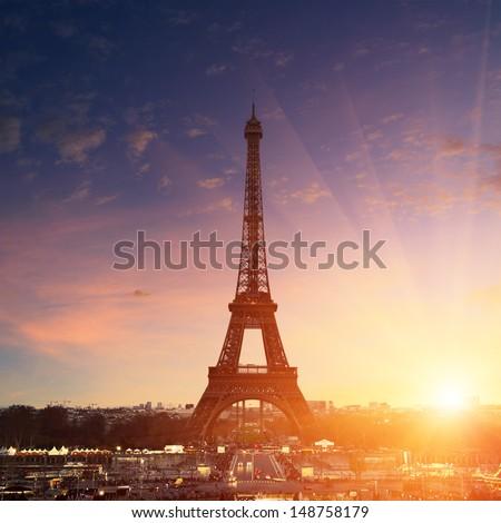 Paris cityscape at sunset - eiffel tower stock photo