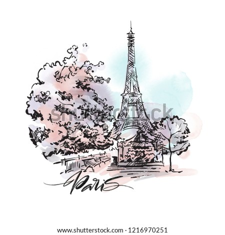 Paris cityscape illustration. Ink and pen hand drawn artwork.