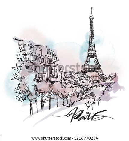Paris cityscape illustration. Ink and pen hand drawn artwork.