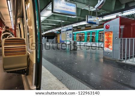 PARIS - DEC 1: Metro station desert at night, December 1, 2012 in Paris. Underground system in the city carries 4.5 million passengers a day.