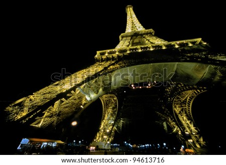 PARIS - DEC 24: The eiffel tower in the form of `Eiffeleozaur` on December 24, 2001 in Paris. The Eiffel tower is one of the most recognizable landmarks in the world