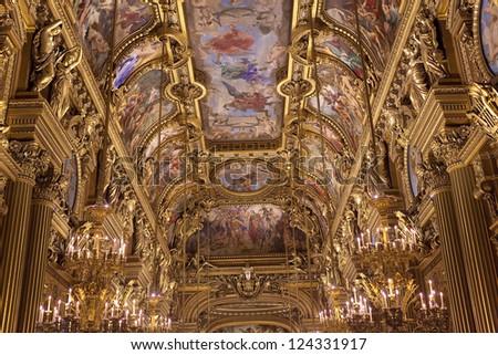 PARIS - DECEMBER 22 : An interior view of Opera de Paris, Palais Garnier, is shown on DECEMBER 22, 2012 in Paris. It was built from 1861 to 1875 for the Paris Opera house.