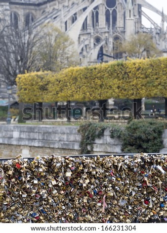 PARIS DECEMBER 6 Love Padlocks at Pont de l'Archevche on December 6 2013 in Paris The thousands of locks of loving couples symbolize love forever