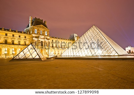 PARIS-DECEMBER 06: The Louvre Museum on December 06, 2012 in Paris, France. A central landmark of Paris, over 35000 objects from prehistory to the 19th century are exhibited over area of 60600 sq m.