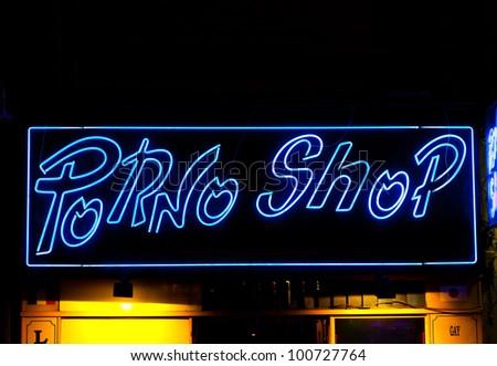 Paris - Detail of sexy shop sign, no copyrighted logo