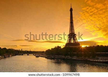 paris, Eiffel tower and seine river