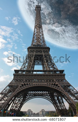 Eiffel Tower Sexual Position Pictures on Paris Eiffel Tower France Under A Big Moon Stock Photo 68071807