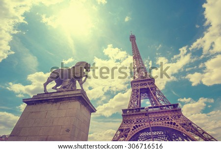 Paris Eiffel Tower on sunny day - Shutterstock ID 306716516