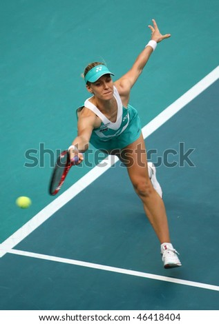 PARIS - FEBRUARY 10: Elena DEMENTIEVA of Russia returns the ball  during GDF Suez Open 2nd round match on February 10, 2010 in Paris, France