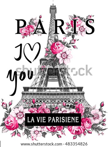 Paris Flower slogan graphic for t-shirt
