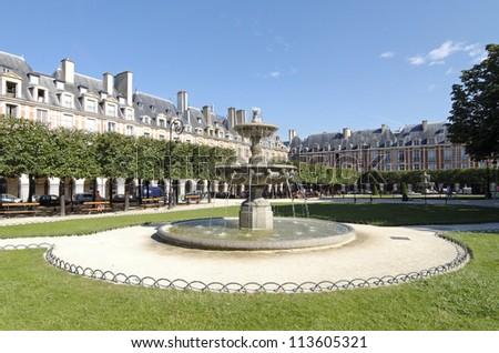Paris, fountain in place des Vosges