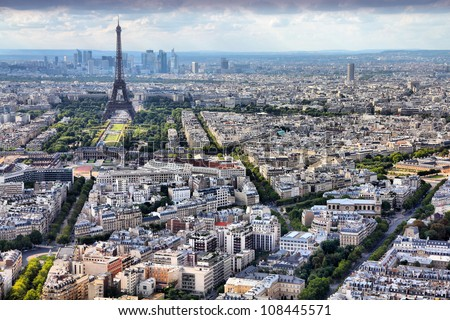 paris  france   aerial city...