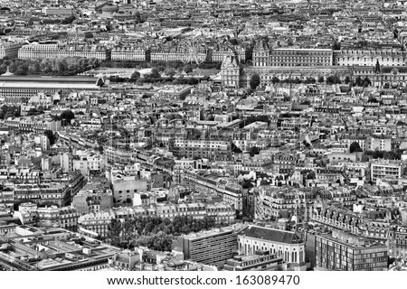 paris  france   aerial city...