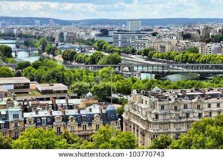Paris, France - aerial city view with Seine River. UNESCO World Heritage Site.