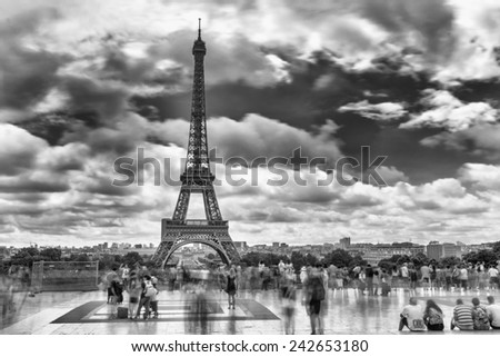 Paris, France. Amazing Eiffel Tower black and white view from Trocadero, long exposure.