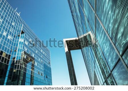PARIS, FRANCE - Apr 22, 2015: Paris modern architecture. Modern building on a sky background