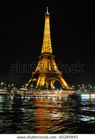 PARIS, FRANCE-  APRIL 4: Eiffel tower at night. The Eiffel tower is the most visited monument of France. April 4, 2010