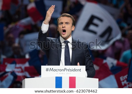 PARIS, FRANCE - APRIL 17, 2017 : Emmanuel Macron in meeting, the great gathering, at Paris Bercy, AccorHotels Arena, for the french presidential election of 2017 with his political party en marche.