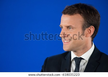 PARIS, FRANCE - APRIL 8, 2017 : Emmanuel Macron speaking about french ultramarine for the french presidential election of 2017 at the head office of his political party en marche.