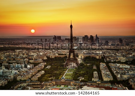 Paris, France at sunset. Aerial view on the Eiffel Tower and the Champ de Mars Stock photo ©