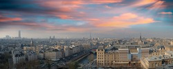 Paris, France. Beautiful city panoramic skyine from the top of Notre Dame.