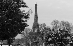 Paris, France : Black and white Eiffel tower from a garden with bare trees in winter.