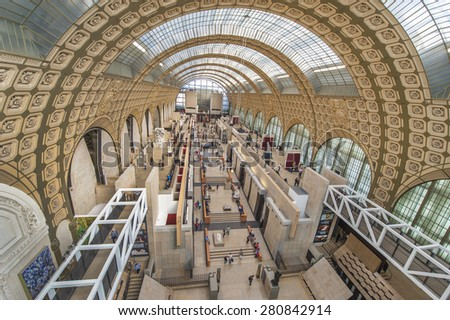 PARIS FRANCE-CIRCA APRIL 2015 inside museum D'Orsay situated in the former railway station