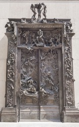 PARIS,FRANCE-CIRCA APRIL 2015: The famous Gates of Hell by Auguste Rodin