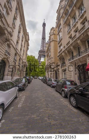 PARIS,FRANCE-CIRCA APRIL 2015: Walking along Paris streets